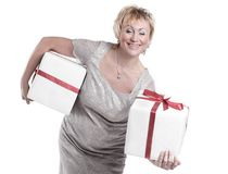 Closeup.beautiful woman with gift boxes.isolated on a white. Background Stock Photo