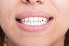 Closeup of a beautiful woman smile Stock Photos