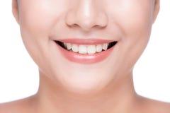 Closeup of beautiful woman smile with white teeth.  Stock Photos