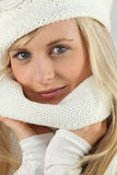 Closeup of a beautiful woman with wool cap Stock Photo