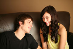 Closeup of beautiful young couple smiling Stock Images