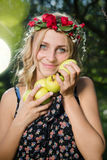 Closeup on beautiful young lady apple fairy with Royalty Free Stock Image