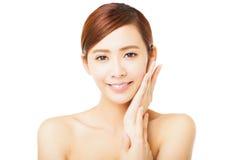 Closeup beautiful young woman face Stock Photo