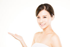 Closeup beautiful young   woman  with showing gesture Royalty Free Stock Photos