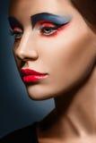 Closeup beauty creative makeup woman face Stock Photos