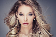 Closeup beauty photo of sensual woman. Royalty Free Stock Photo