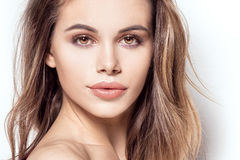 Beauty portrait of attractive girl with glamour makeup. Closeup beauty portrait of attractive natural brunette woman with glamour makeup Royalty Free Stock Photography
