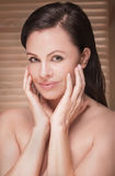 Closeup beauty portrait of attractive woman. Royalty Free Stock Photo