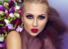 Closeup beauty portrait of blonde woman. stock photos