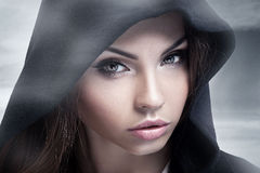 Closeup beauty portrait of brunette woman. Royalty Free Stock Photos