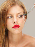 Closeup beauty portrait woman applying mascara Royalty Free Stock Image