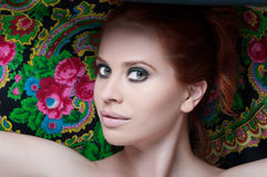Closeup beauty portrait of young redhead female royalty free stock photography