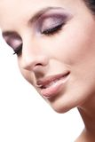Closeup beauty portrait of young woman eyes closed Royalty Free Stock Images