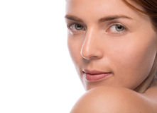 Closeup beauty shot of attractive woman Royalty Free Stock Images