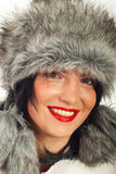 Closeup of beauty woman in fur hat Royalty Free Stock Photo