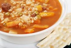 Closeup beef barley soup Stock Photo
