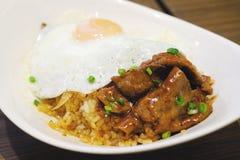 Beef teriyaki rice. Closeup beef teriyaki rice with fried egg, vintage style royalty free stock photos