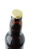 Closeup of a beer bottle cap and neck Stock Images