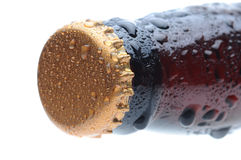 Closeup of a Beer Bottle Neck and Cap Stock Photo