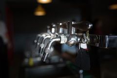 Closeup beer cold tap in pub Royalty Free Stock Photo