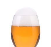 Closeup of beer glass with foam. Royalty Free Stock Images