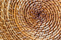 Closeup of beige basket. Wicker woven pattern for abstract background or texture. Royalty Free Stock Images