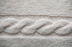 Beige wool pullover twisted texture. Closeup of beige wool pullover twisted texture Stock Images