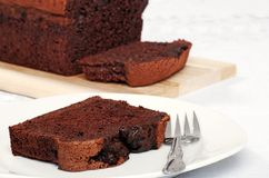 Closeup belgium chocolate cake loaf Royalty Free Stock Photography