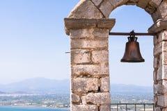 Closeup of bell on Palamidi medieval fortress, Nafplio, Greece.  Stock Photos