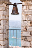 Closeup of bell on Palamidi medieval fortress, Nafplio, Greece Royalty Free Stock Photo