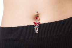 Closeup of a belly button that is pierced with jewelry in it. A Closeup of a belly button that is pierced with jewelry in it Stock Photos