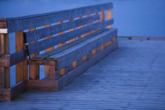 Landing stage. Closeup of a bench on a landing stage Stock Images