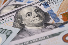 Closeup of Benjamin Franklin on One Hundred Dollar Bill Stock Photo