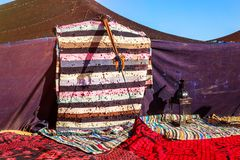 Closeup on nomad tents on morocco desert. Closeup on berber nomad tents on morocco desert Stock Images