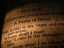 Closeup of bible verse. A closeup of a bible verse from the Psalm of David Royalty Free Stock Photography