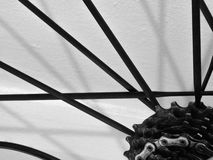 Closeup of Bicycle Cassette and Spokes on a Racing Bike Royalty Free Stock Photography