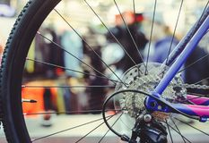 Closeup of a bicycle gears mechanism and chain on the rear wheel of mountain bike. Rear wheel cassette from a mountain bike. Close. Up detailed view stock photo
