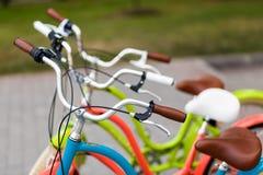 Closeup of bicycle's handlebars and saddles Royalty Free Stock Photo