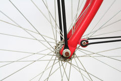 Closeup of bicycle spoke on the wheel  Royalty Free Stock Photos
