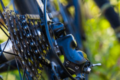 Closeup bicycle transmission. Wheel and chain royalty free stock photo