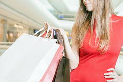 Closeup big bags fashion woman holding at shopping center. She dressed in red dress. There is a large copy space for text, label and design Royalty Free Stock Image