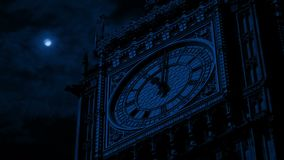 Big Ben Clock Face At Night stock footage