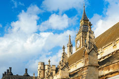 Closeup on Big Ben and the spires of Westminster Palace. London, UK Royalty Free Stock Image