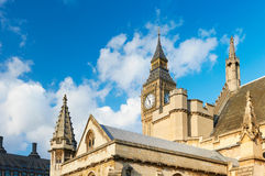 Closeup on Big Ben and the spires of Westminster Palace. London, UK Royalty Free Stock Photography