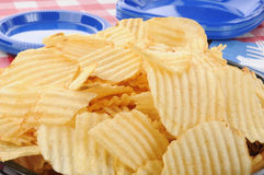 Closeup of a big bowl of potato chips Royalty Free Stock Photo