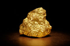 Closeup of big gold nugget Royalty Free Stock Images
