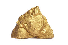 Closeup of big gold nugget. On a white background Royalty Free Stock Images
