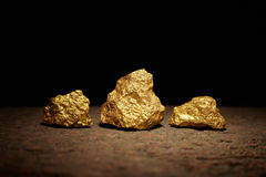Closeup of big gold nuggets Stock Photo
