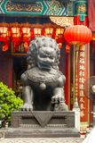 Closeup Big Gray legendary lion statues in Wong Tai Sin Templ. Closeup of Big Gray legendary lion statues in Wong Tai Sin Temple , Hong Kong royalty free stock photo