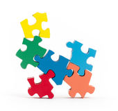 Closeup of big jigsaw puzzle pieces Royalty Free Stock Image